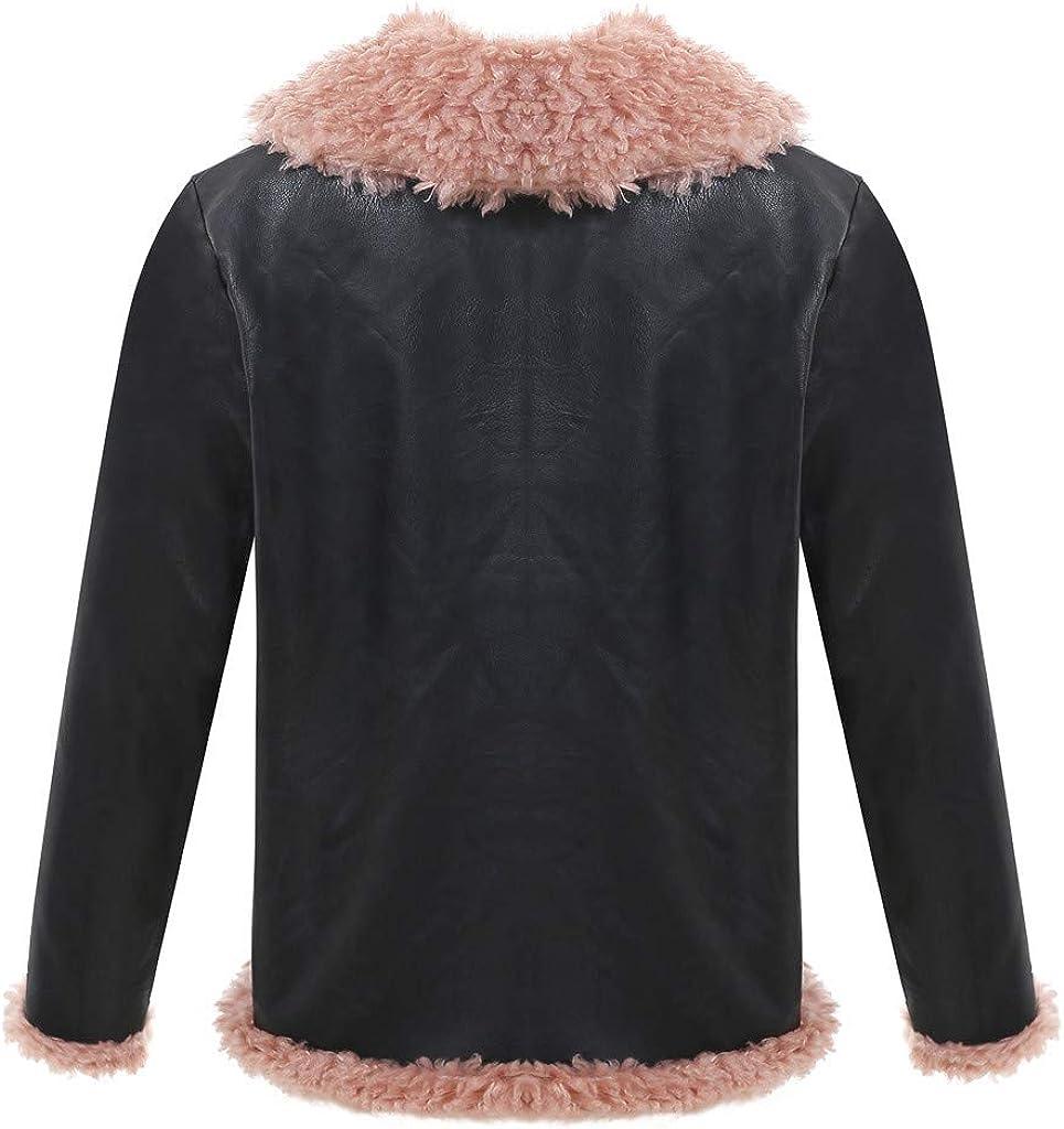 FRAUIT Giacca Invernale Donna con Pelo Giacche Tumblr Ragazza in Pelle con Interno in Pile Cappotto Elegante Corto Giubbotto Moto Inverno Parka Cappotti Giubbini Inverno Autunno