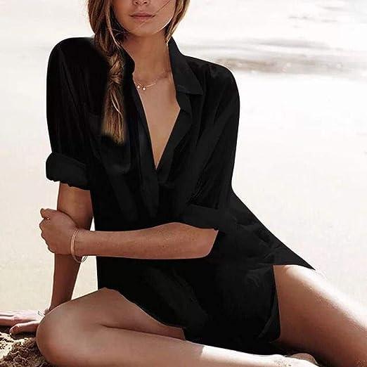 Botón De Las Mujeres Bikini Camisa De Playa Moda Mode De Marca Playa Traje De Baño Blusa Blusa Oversize Moda Manga Larga Blusa De Moda Ocio Ocio Color Sólido Ropa Interior Mujer: