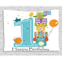 1st Birthday Decorations Tapestry by Ambesonne, First Cake Candle Owls Family with Box Party Theme, Wall Hanging for Bedroom Living Room Dorm, 80 W X 60 L Inches, Sky Blue Orange and Green