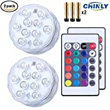 CHINLY Submersible LED Light, IR Remote Controller 10-LED RGB Waterproof Battery Powered Lights for Aquarium, Vase Base, Pond, Swimming Pool, Garden, Party, Weeding, Christmas, Halloween
