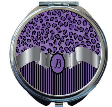 Rikki Knight Letter''B'' Purple Leopard Print Stripes Monogram Design Round Compact Mirror by Rikki Knight