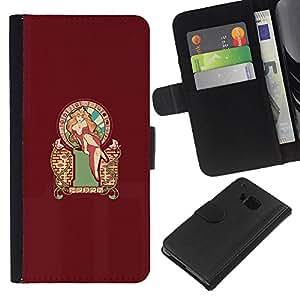 LECELL--Cuero de la tarjeta la carpeta del tirón Smartphone Slots Protección Holder For HTC One M9 -- Pin atractivo encima Mari0 Princesa Peach --