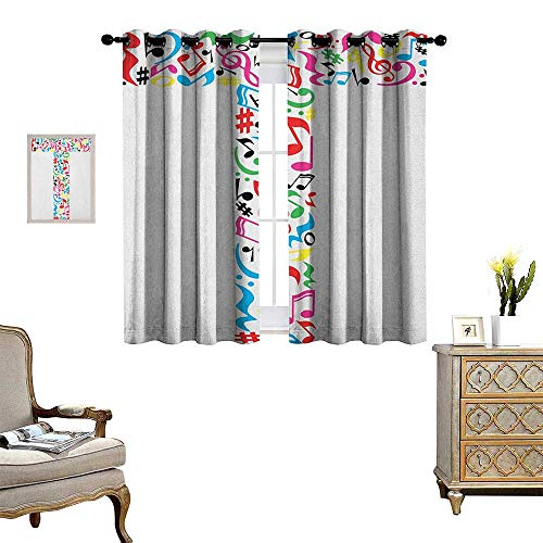 Warm Family Letter T Room Darkening Wide Curtains Uppercase T Letter Colorful Sheet Music Elements Font Alphabet Design Art Style Customized Curtains W72 x L63 Multicolor
