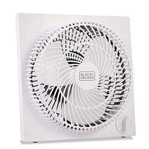 Black + Decker BFB09W 9' Quiet Mini Tabletop Box Fan, 9' Fan, White