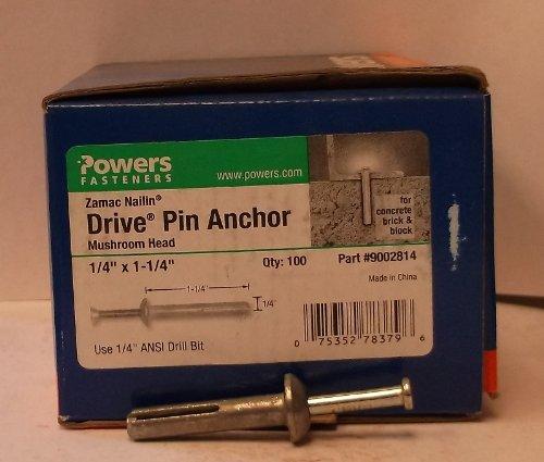 Powers Fasteners Zamac Nailin 1//4 X 1-1//4 Drive Pin Anchor