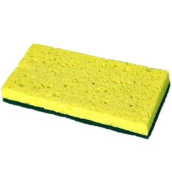 Continental SS652 Medium-Duty Scrubber Sponge, 3 1/8 x 6 1/4 in, Yellow/Green, 5/PK, 8 PK/CT