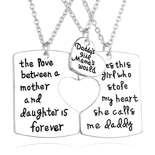 3 Piece Set Family Pendant Necklace - Father and Mother I Love You for Daughter Dad Mom New Year Family Best (Stirling 3 Light)