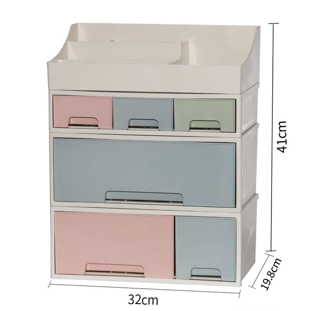 KKY-ENTER マルチグリッド引き出しタイプ化粧品収納ボックスプラスチックシンプルデスクトップ口紅ジュエリースキンケア製品収納ディスプレイボックス (色 : B, サイズ さいず : 32*19.8*48cm) 32*19.8*48cm B B07NXRWV26