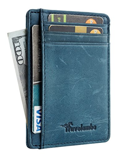 Travelambo Front Pocket Minimalist Leather Slim Wallet RFID Blocking Medium Size(crazy horse blue)