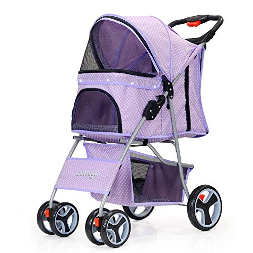 comiga Four Wheels Pet Strollers Portable Strolling Cart Walk Jogger Waterproof Flexible Travel Carrier for Puppy Dogs Cats, Easy Fold with Storage Basket Purple