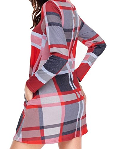 Sexy Women Coolred Evening Long Basic Party Sleeve Plaid Big Hem Dress Red 0dqdr8w