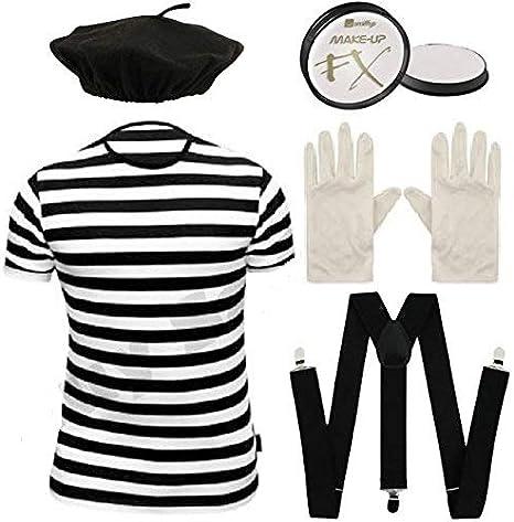 NEW MENS FRENCH MAN MIME 4 PCS SET FANCY DRESS COSTUME T-SHIRT GLOVES HAT BRACES