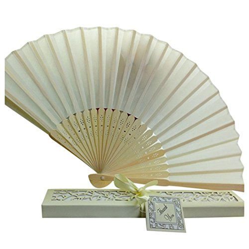 Folding Hand Held Fans, Inkach Bridal Chinese Bamboo Silk Hand Fan Wedding Favors Guests Gifts (Beige)