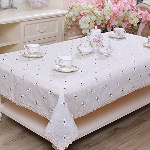 (yazi Country Rustic Embroidery Cutwork Lace Dining Table Cloth Linen Cotton Christmas and Thanksgiving Tablecloth Rectangle White Floral 22x46 Inch)