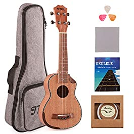 JDR Soprano Ukulele Mahogany 21 Inch Small Hawaiian Guitar with Carbon Strings Protective Bag and Beginner's Manual for…