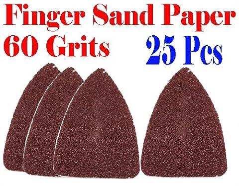 Pack 25 Sandpaper 60 Grits Sand Paper Finger Detail w/ Oscillating Multi Tool Saw Blades for Fein Multimaster Bosch Multi-x Craftsman Nextec Dremel Multi-max Ridgid Dremel (Bosch Multi Sander)