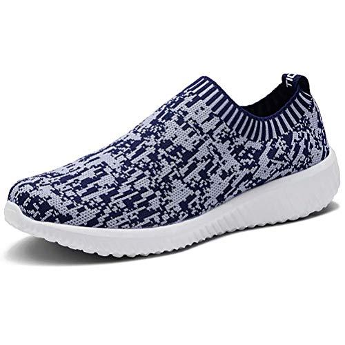 LANCROP Women's Comfortable Walking Shoes - Lightweight Mesh Slip On Athletic Sneakers 8.5 M US Navy ()
