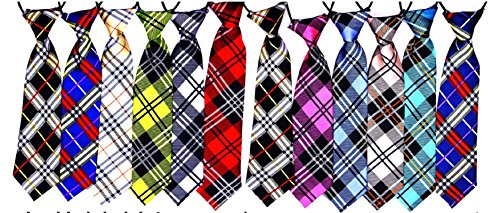 Yagopet 10pcs/pack Big Ties Plaid Patterns Large Dog Ties Dog Large Neckties 22inches Bow Ties Cat Dog Ties for holiday Festival Dog Collar Dog Grooming Accessories