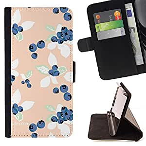 For Sony Xperia M2 Case , Peach azul Vignette Wallpaper- la tarjeta de Crédito Slots PU Funda de cuero Monedero caso cubierta de piel