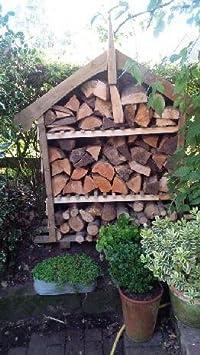 Caseta decorativa de jardín para guardar la leña, hecha a mano en Reino Unido, tratada a presión y muy resistente: Amazon.es: Jardín