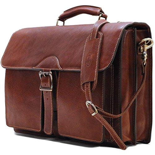 - Floto Novella Roller Buckle Briefcase Messenger Bag in Full Grain Leather (Saddle Brown)