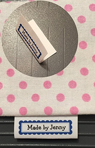 35 Color Ink Blue Scalloped Frame Custom NO FRAY Precut Cotton Loop Fold Two Line Sewing Label/Tags with Your Text Choice- Made in USA