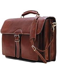 Novella Roller Buckle Briefcase Messenger Bag in Full Grain Leather (Saddle Brown)