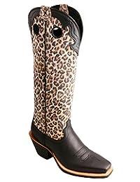 "Twisted X Women's 16"" Leopard Print Buckaroo Cowgirl Boot Square Toe Black 6 M US"