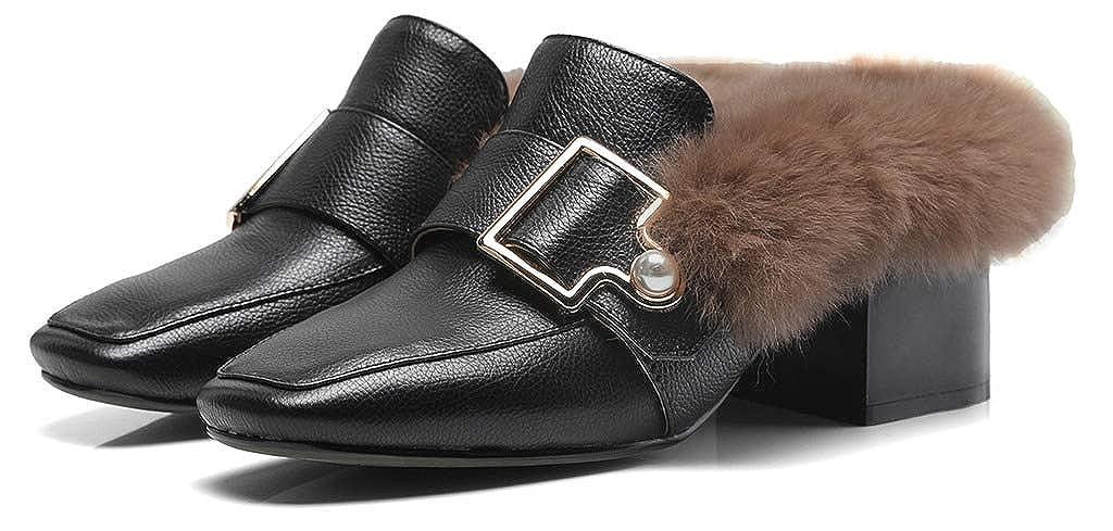 SimpleC Damen Warm Warm Warm Kunstfell Futter Schnalle mit synthetischen Perlen Slip-On Mules Schuhe mit 5cm Absatzhöhe Schwarz 2a3cef