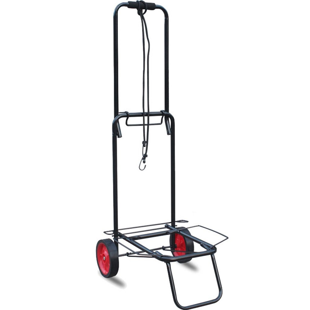 Handcart Portable Iron Art Rubber Wheel Luggage Cart Shopping Cart Hand truck Fold Trolley Pull Rod Car Load 45 Kg (Color : BLACK)