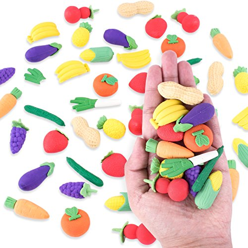 Pencil Harvest (Colorful Mini Fruits & Vegetables Tiny Foods Miniature Pencil Erasers for Children Party Favors, Classroom Student Prize Packs, School Supplies, Toys & Games (12 Mini Bags, 48 Erasers Total))