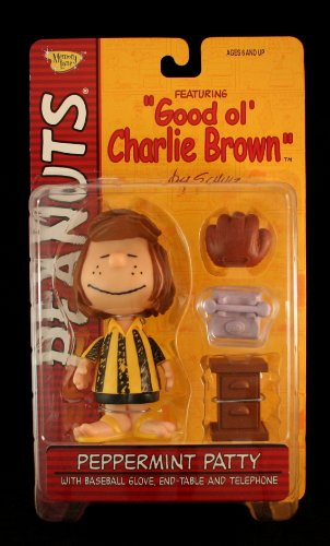 (Peanuts Peppermint Patty Classic  Eyes Closed Smile Facial Expression with Baseball Glove, End-Table & Telephone Action Figure from Good ol' Charlie Brown)