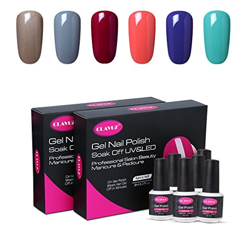 CLAVUZ Gel Polish UV LED Soak Off Nail Varnish Lacquer Manicure Pedicure Sets Beauty Salon Nail Arts Kits 6pcs -