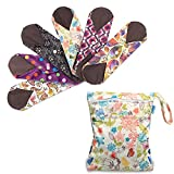 Teamoy 6Pcs Pack 10 Inches Sanitary pad, Reusable Washable Cloth Menstrual Pads/Panty Liners with Wet Bag, Super-absorbent, Soft and Comfortable, Perfect for General Flow(Medium, Mixed Pattern)