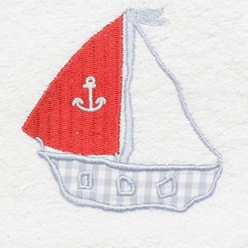 wei/ßer Frottee Waschhandschuh Segelboot