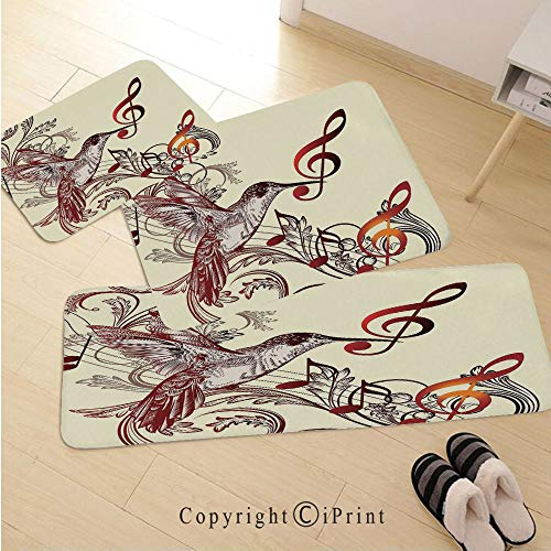 Hummingbirds Decorations 3D Non-Slip Kitchen Mat Runner Rug Set,3pc Kitchen Rug Set,Flying Bird and Music Notes Clef Five Line Staff Musical Creative Artistic Ornate,for Entryway Kitchen and Bedroom,