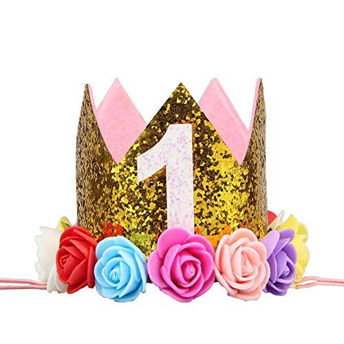 (Birthday Crown Baby Girl Princess Hat Gold Flower Tiara Headband Party Supplies (gold)