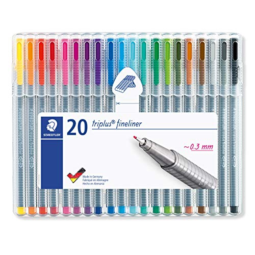 Staedtler Triplus Fineliner Pens, .3mm, Metal Clad Tip, 20-Pack, Assorted (334SB20BK)