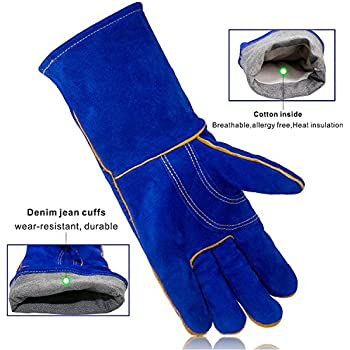 KIM YUAN Leather Welding Gloves - Heat/Fire Resistant, Perfect for Gardening/Oven/Grill/Mig/Fireplace/Stove/Pot Holder/ Tig Welder/Animal Handling/BBQ - 14inches