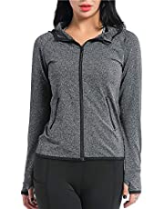 AMZSPORT Women's Running Jacket Long Sleeve Sports Hoodie with Zip Side Pocket Grey
