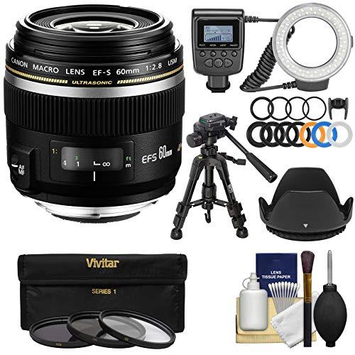 - Canon EF-S 60mm f/2.8 Macro USM Lens with Ring Light + Macro Tripod + 3 UV/CPL/ND8 Filters + Hood + Kit