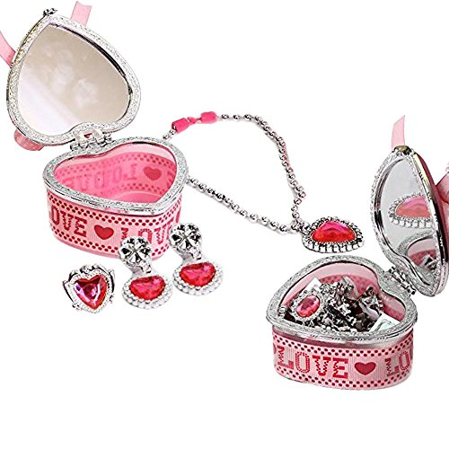 Toy Cubby Kids Pink Heart Shaped Design Jewelry Box with Mirror on cover and Heart Necklace, Ring and Earrings (Design Box Heart Shaped Princess)
