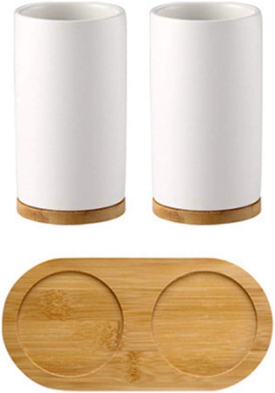 Distributeur de Savon pour Dentifrice en Bambou gobelet Wankd Ensemble daccessoires de Salle de Bain en c/éramique Porte-Brosse /à Dents
