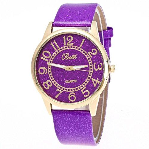 Bordered Hearts (AIMTOPPY Women Men Leather Quartz Dress Heart-shaped Wrist Watch (Purple))
