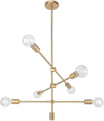 Ganeed Sputnik Chandeliers Modern 6 Lights Brushed Brass Chandelier Mid Century Pendant Lighting Gold Ceiling Light Fixture for Hallway Bar Kitchen Dining Room