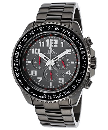 Adee Kaye Ak9006-Gy Men's Aviation Chrono Gunmetal Ip Ss Grey Dial Gunmetal Ip Ss Watch