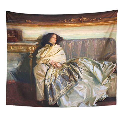 Semtomn Tapestry Artwork Wall Hanging Repose John Singer Sargent Lady Paintings Painter Portrait Famous 60x80 Inches Tapestries Mattress Tablecloth Curtain Home Decor Print
