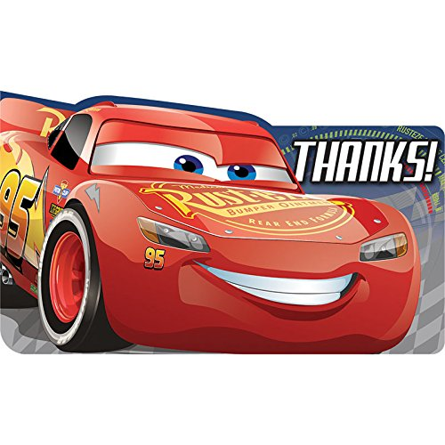 Amscan 8ct Disney Cars 3 Thank You Notes