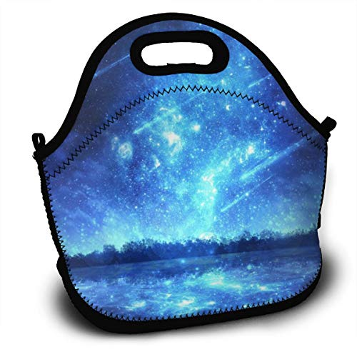 Dejup Lunch Bag Blue Aurora Tote Reusable Insulated Lunchbox, Shoulder Strap with Zipper for Kids, Boys, Girls, Women and Men -