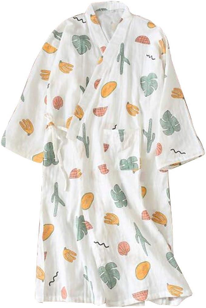 Pijamas/Albornoz de mujer - Kimono Robe - Ligero 100% algodón (Delgado), A4: Amazon.es: Ropa y accesorios
